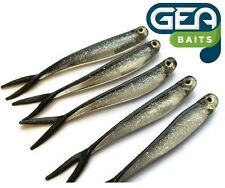 6 X Silver Black Soft Lures 8cm Fishing Bait Tackle