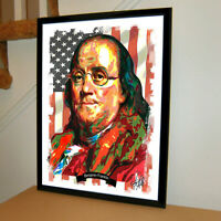 Benjamin Franklin Founding Fathers USA Politics Poster Print Wall Art 18x24