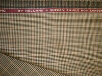 "2.77 yd Holland Sherry WOOL Luxury Super Fine Suiting fabric Check Tan 100"" BTP"