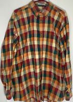 Men's Orvis Heavy Cotton Plaid Button Down Shirt Size XL GUC Fall Colors