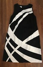 "Maggy London Petites Black White Stretch Sheath Dress SIze 12P Petite 40"" Chest"