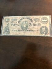 1864 $100 DOLLAR BILL CONFEDERATE STATES CURRENCY CIVIL WAR NOTE OLD PAPER MONEY