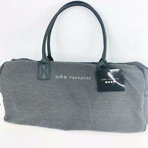 John Varvatos Weekender Travel Tote Canvas Faux Leather Trim Zip Gray Large New