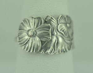 Beautiful 925 Sterling Silver Light Weight Flower Spoon Ring