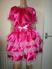 """ADULT BABY SISSY DEEP PINK SATIN PRETTY FRILLY RUFFLE DRESS 52""""  PUFFED SLEEVES"""