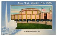 Railroad Exhibit Building, Trylon Perisphere 1939 New York World's Fair Postcard