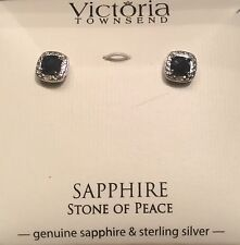 Jewelry STUNNING Victoria Townsend Sapphire & Diam Earring Sterling Silver NWT