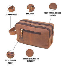 90c1b706e3c4 Mens Vintage Leather Toiletry Bag Travel Shaving Kit Grooming Cosmetic Case