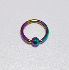 Piercing anneaux  bcr,téton,nombril,oreilles, 1.6 mm x 10 mm  Pétrole