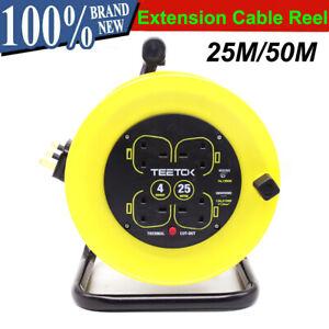Extension Lead Reel Socket 4 Gang Way UK Plug 15M/25M/50M 13A 230V Heavy Duty UK