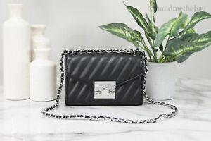 Michael Kors Rose Small Black Vegan Leather Quilted Flap Crossbody Bag Handbag