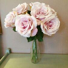 7 Light Purple Artificial English Garden Roses, Realistic Lilac Faux Silk Flower