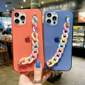Rainbow Coloured Chain Clear Case Cover For iPhone 11 12 MINI PRO MAX 7 8 XS XR