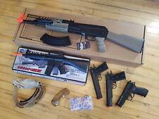 Airsoft - AK47 LAEG, Springers [ M4 Rifle, 1911 & P226 Pistol ], Googles & Ammo