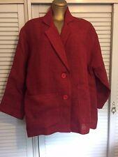Vintage 80s Designer Hinke Zieck 100% Jute Red Jacket Australian Made Sz 16-20