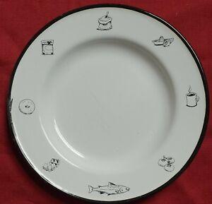 6 BUTTON & CO BLACK & WHITE TIN ENAMELED METAL KITCHEN BREAKFAST DINNER PLATES