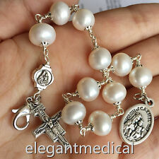 Silver Wire Wrap UNDOUBTED Freshwater Pearls BEAD ROSARY BRACELET CROSS CATHOLIC