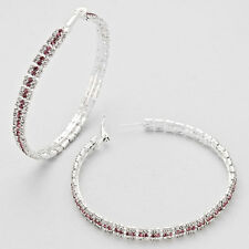 "Jumbo 3"" Silver and Purple Rhinestone Hoops"