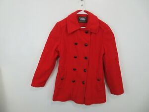 Mackintosh Red Double Breasted Wool Peacoat Coat Jacket Womens 12 USA Vintage