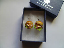 Cute Ham & Egg Roll Earrings -  Rockabilly Geek Girl Chic Sandwich Kitsch Cafe