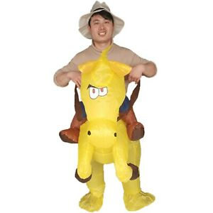 Cowboy Inflatable Horse Costume Halloween Cosplay Party Dress for Adults Kids