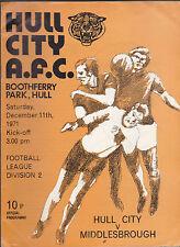 Hull City Tigers Official Programme v Middlesbrough December 11 1971