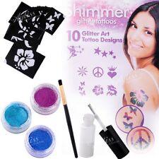10 Designs 3 Color Body Shimmer Glitter Powders Tattoos Brush Glue Kits Tool