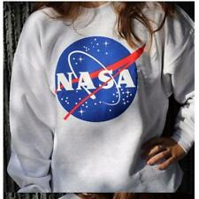 Women NASA Printed Pullover Sweatshirt Loose Jumper Baseball Tee Tops Blouse JJ
