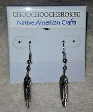 Handcrafted Native American Silver Feather Earrings  Made in the USA