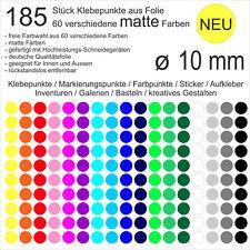 185 Stück Klebepunkte aus Folie matt rund 10mm Aufkleber Sticker Inventur NEU