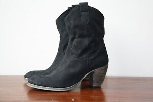 Primadonna Collection Black Suede Western Style Boots, Size EU 39, UK 6, BNWOB
