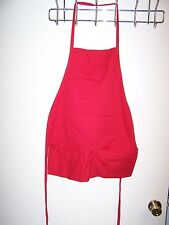 Solid Red Christmas Chef's Apron with 2 Pockets - NWOT - NEW