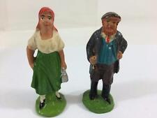 "Lead Antique Toy Figure Germany Lot 2 Compo Man Woman Miniature Village 2-5/8"""