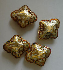 4 Diamond Cloisonne Character Beads, White/Gold/Amber 17x20 mm. Jewellery making