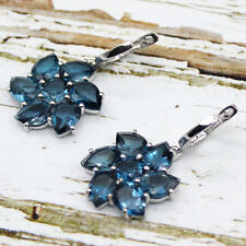 Natural London Blue Topaz Flower 925 Sterling Silver Fine Earrings 18.64 CT