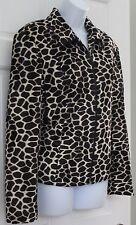 M.D.L Womens Brown Giraffe Animal Print Faux Fur Jacket Blazer SZ 12 Zip Up
