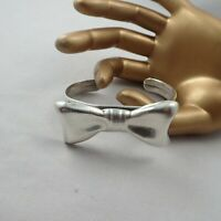 """Vintage Bold Sterling Silver 925 TH-43 Mexico Bow Tie 7"""" Cuff Bracelet Wt 35.5 g"""