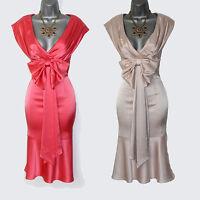 Karen Millen Coral & Champagne Satin Low Open Neck Cocktail Party Dress sz-8-10