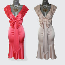 Karen Millen Coral  Champagne Satin Low Open Neck Cocktail Party Dress UK 8 10