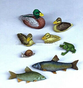 1/35 Resin Animals Set Duck Frog Fish Snail unpainted unassembled 3738