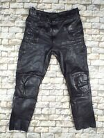 WEKA German Leather Motorcycle Pants L W34 Vintage Black Bandit Cafe Racer