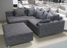 Ecksofa Claudia Wohnlandschaft Ottomane links Sofa mit Hocker Webstoff grau