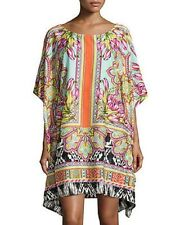 Alberto Makali floral-print Caftan woven poncho-DRESS-tunic (size M)
