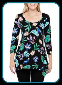 $58 M Black Bird Floral PHILOSOPHY 3/4Slv Sharkbite Handkerchief Shirt Tunic Top