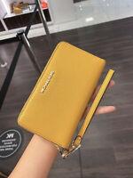 New! Michael Kors Jet Set Travel Large Zip Phone Case Wristlet Wallet Marigold