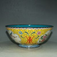 Collect China Cloisonne Enamel Bronze Twisted Branches Flowers and Birds Bowl