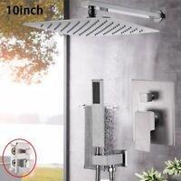 Wall Mounted Shower Faucet Set With 2Ways Mixer Valve Top Rain Head Hand Shower