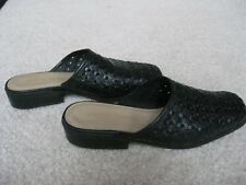 Diana Ferrari  Black Leather Slip On Shoes Size 6.5 Med in Leather