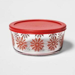 *NEW Threshold RED WINTER SNOWFLAKES 7 Cup Glass Holiday Storage Bowl Gift Dish