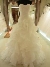 New White Ivory Organza Wedding Dress Bridal Gown Stock Size:6-8-10-12-14-16-18